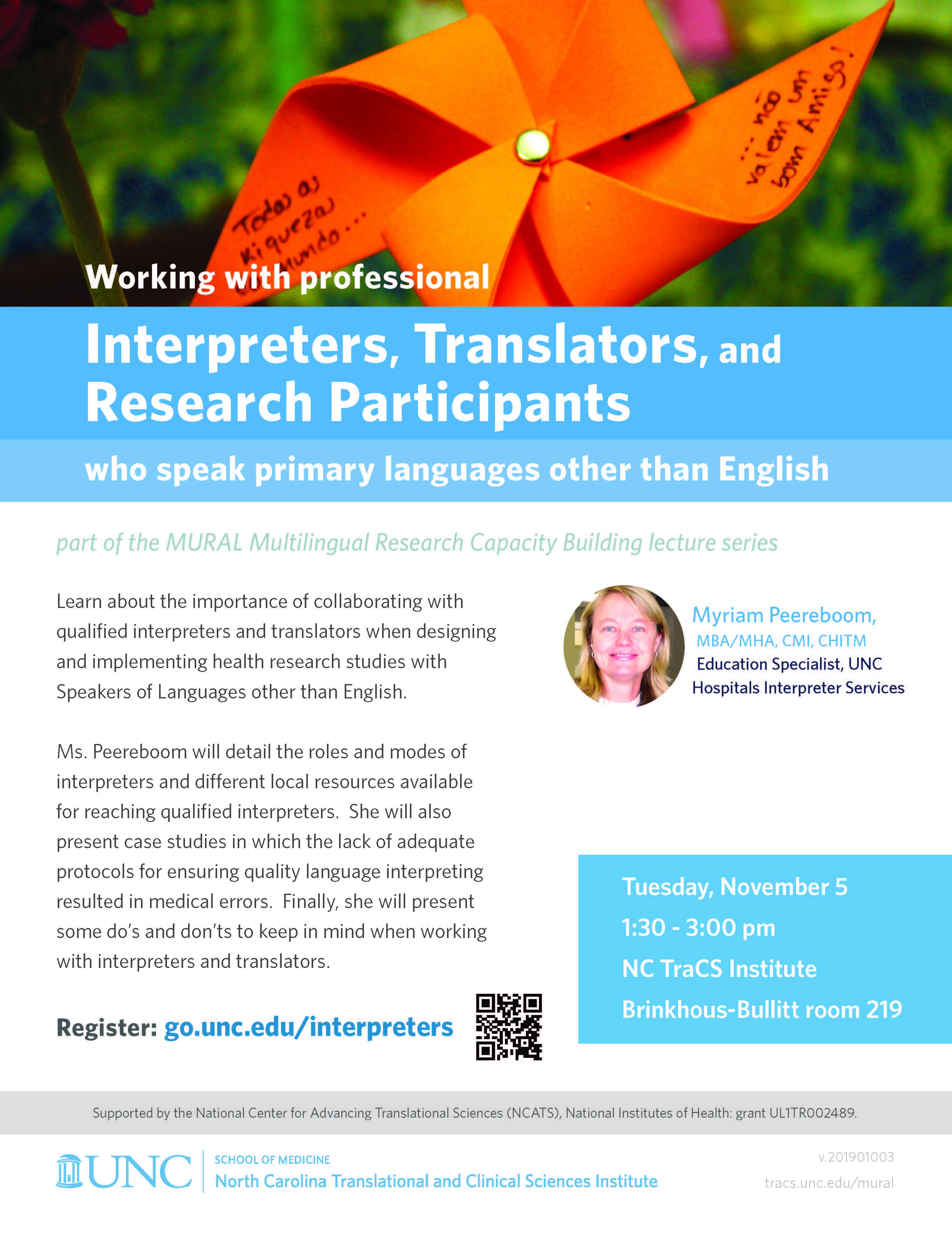 MURAL Multilingual Research Capacity Building Lecture Series: Interpreters, Translators, and Research Participants