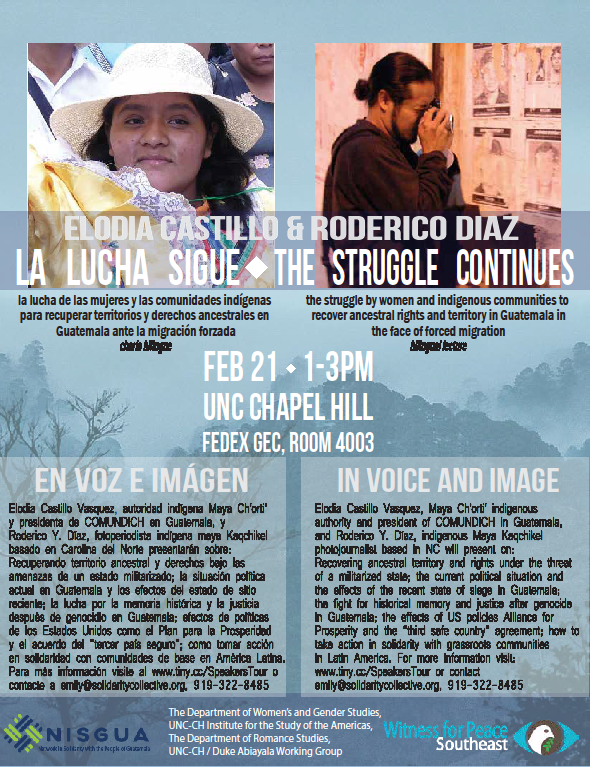 Winter Speaker Tour with Elodia Castillo from Guatemala